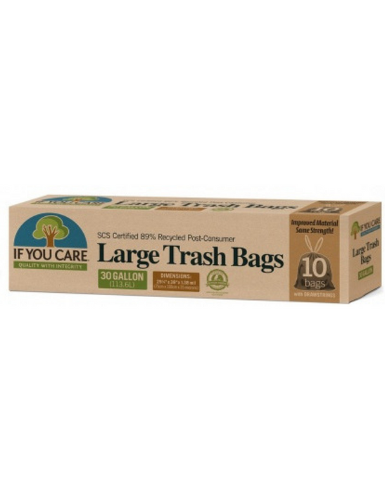 If You Care - Trash Bags with Drawstring (30Gallon/113.6L) 10Bags
