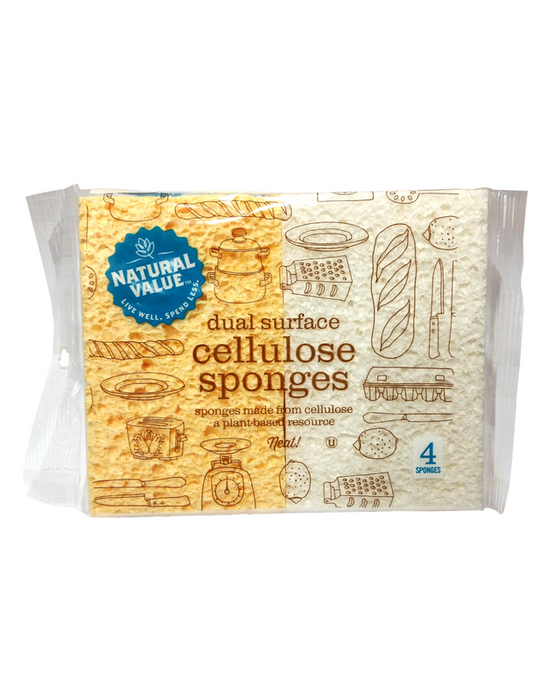 Natural Value - Dual Surface Cellulose Sponge 4 Pack