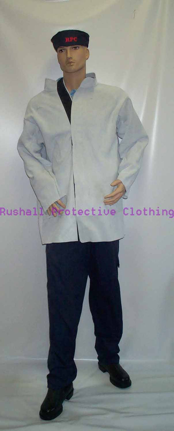 Grey Chrome Leather Jacket 34 inch long