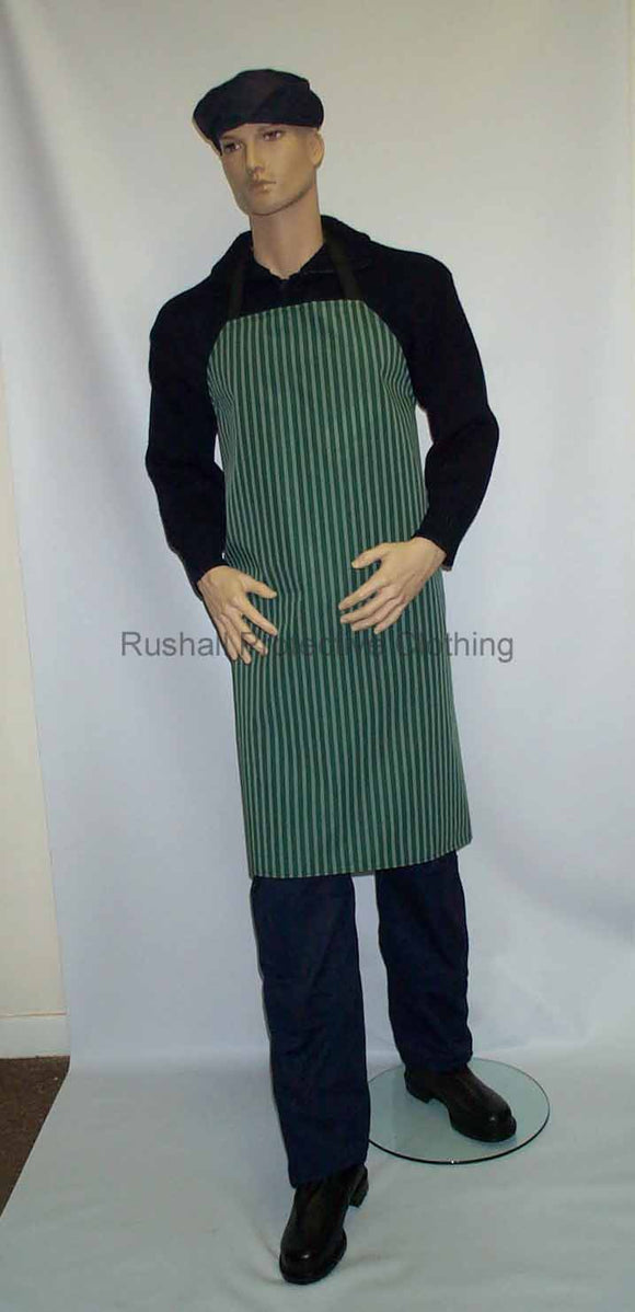 Green/White Strip Butchers Apron 40x36 Inches