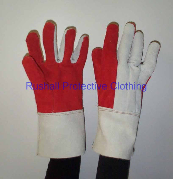 Red Heat Resistant Leather Gauntlet