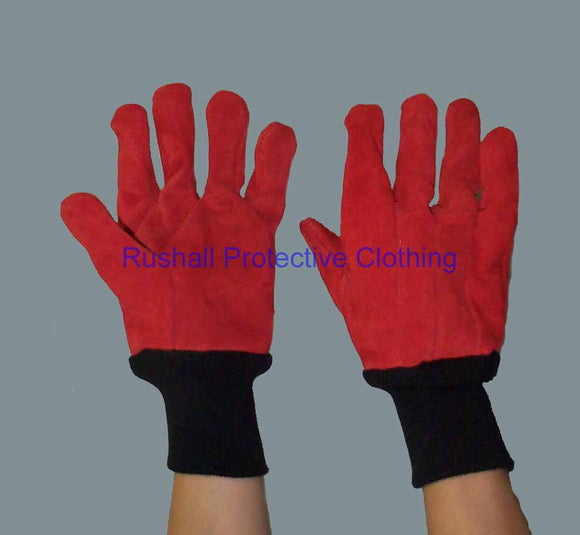 Red Heat Resistant Gloves - Knitted Wrist