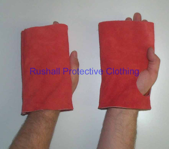Tubular Heat Resistant Leather Hand Pads 8 Inch