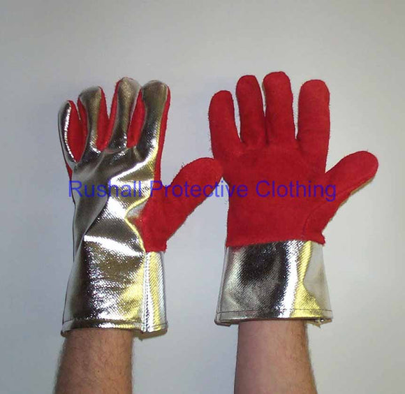 Red Heat Resistant Palm Gauntlet - Alum/Rayon Back