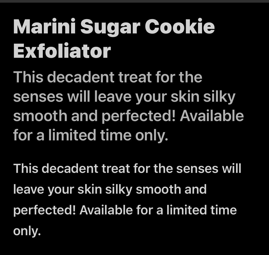 Marini Sugar Cookie Exfoliator