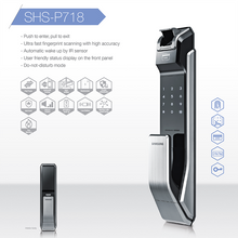 Load image into Gallery viewer, Samsung SHS-P718 Push Pull Biometric Fingerprint Digital Door Lock - HDVideoDepot
