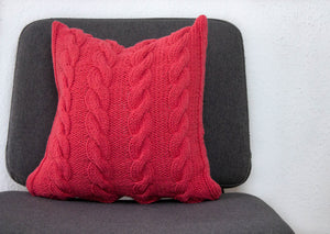 Hand Knit Chunky Cable Knit Cushion - Salmon Pink
