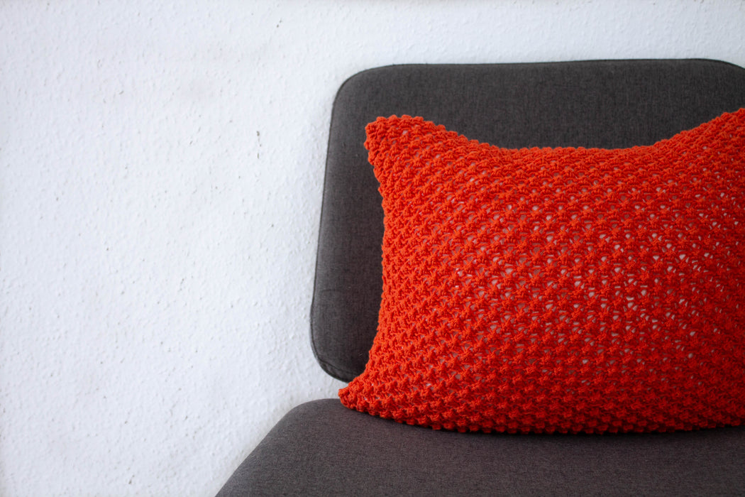 Hand Knit Textured Cushion - Rust