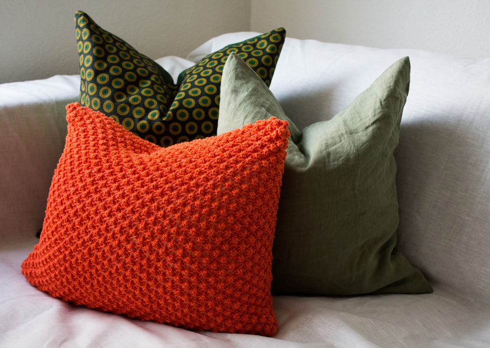 textured hand knit cushion