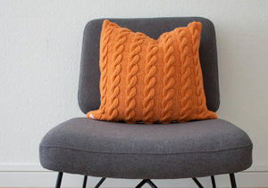 Hand Knit Plaited Cable Cushion - Apricot