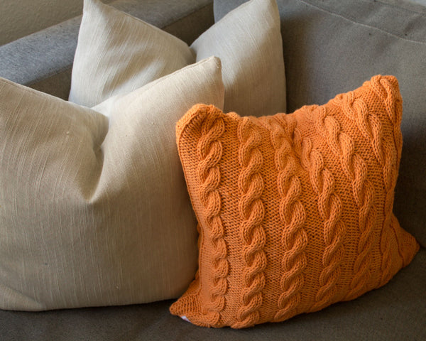 Hand Knit Plaited Cable Cushion in Apricot