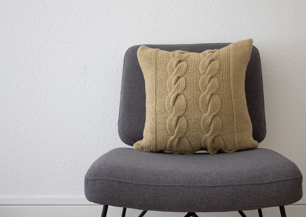 Hand Knit Chunky Cable Knit Cushion - Stone