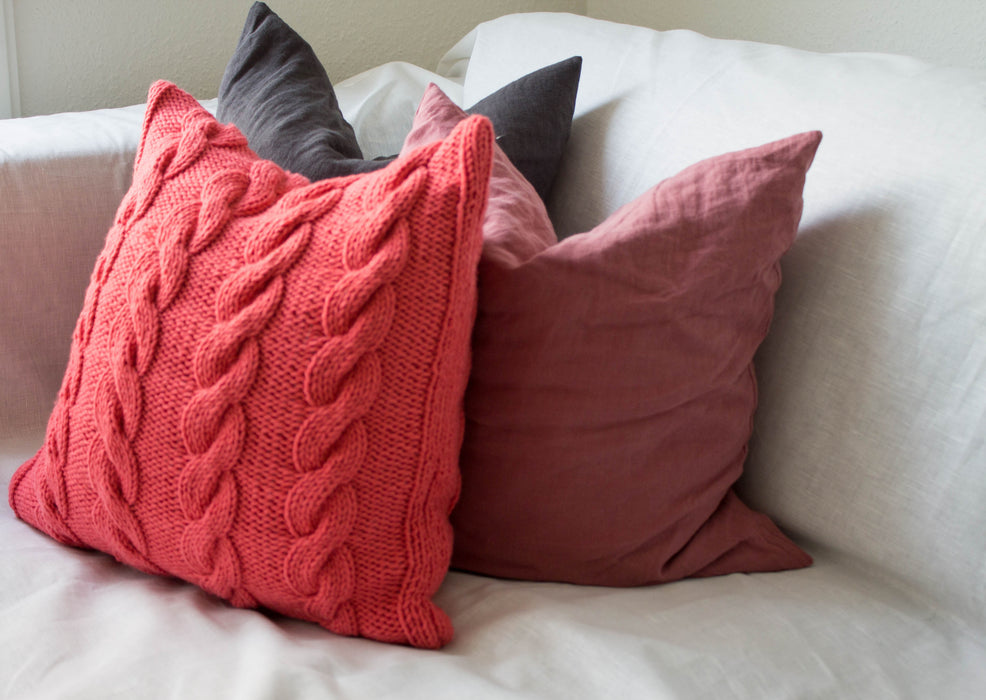 Hand Knit Chunky Cable Stitch Cushion - Salmon Pink