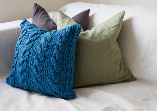 Hand Knit Chunky Cable Knit Cushion - Teal