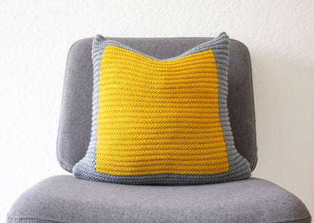 Gold Mustard Colourblock Knitted Cushion