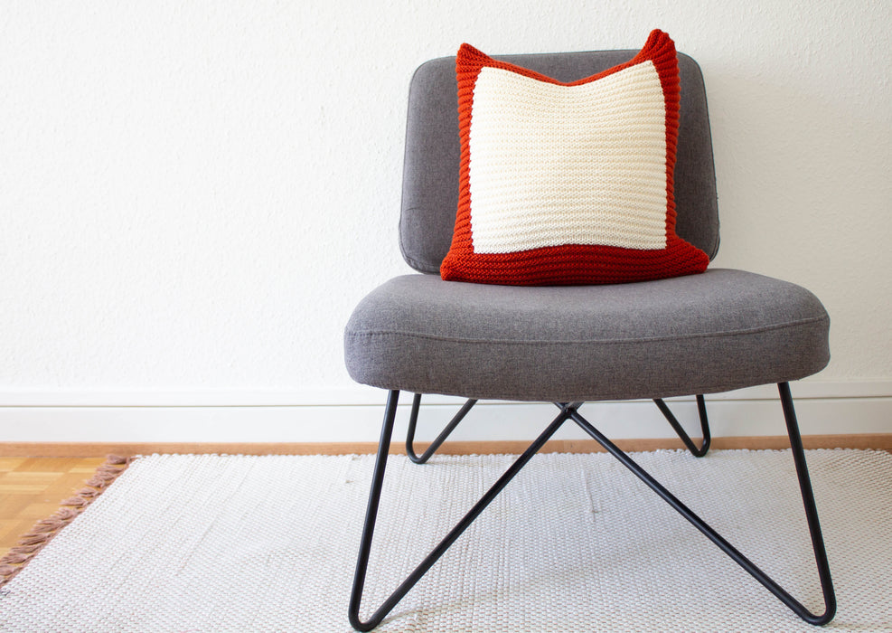 Hand Knit Colourblock Cushion - Rust and Ivory