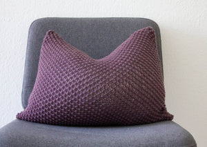 Hand Knit Texture Cushion Aubergine