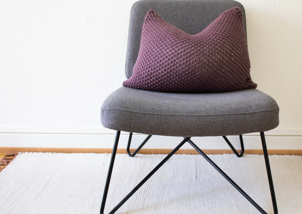 Hand Knit Textured Cushion - Aubergine