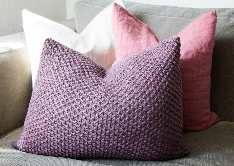 Hand Knit Textured Cushion Aubergine