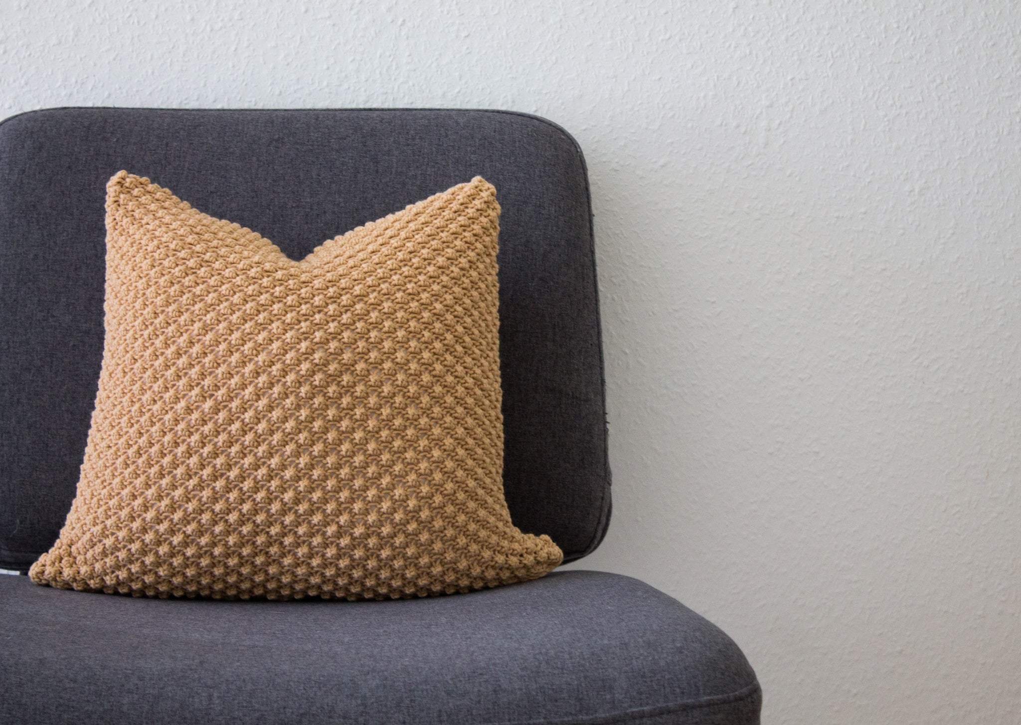 Hand Knit Textured Cushion - Camel