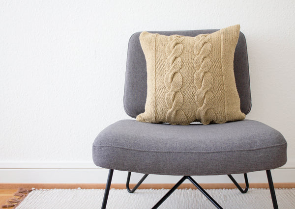 Hand Knit Chunky Cable Knit Cushion in Stone