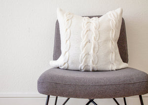 Hand Knit Chunky Cable Knit Cushion in White