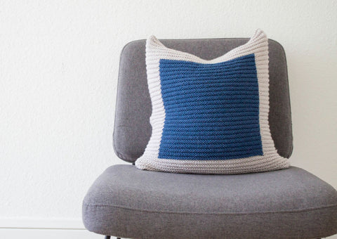 Hand Knit Colourblock Cushion in Grey and Navy
