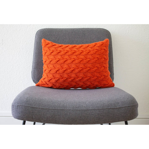 Hand Knit Lattice Cable Cushion in Tangerine