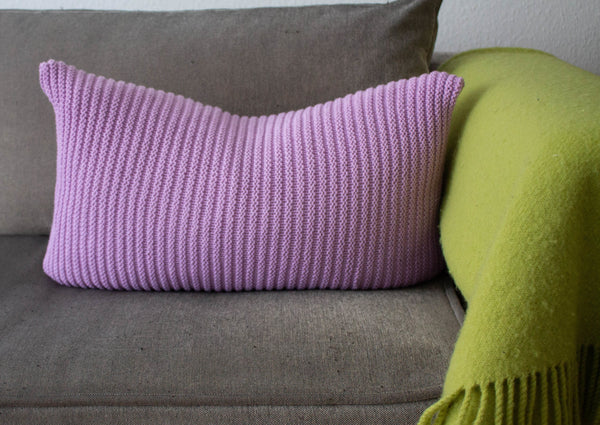 Simple Stitch Knit Cushion Lavender