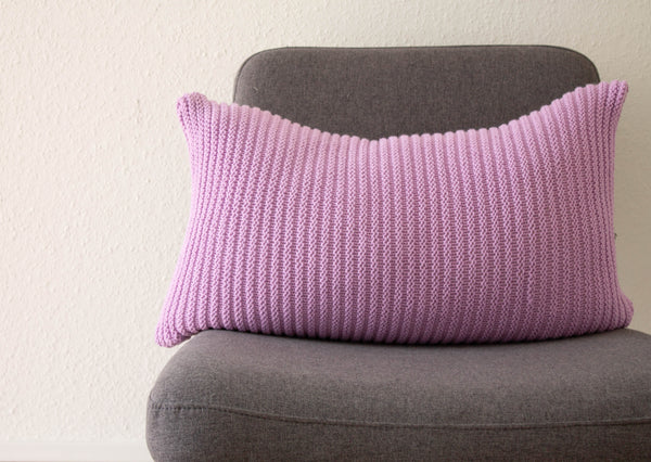 Hand Knit Simple Stitch Cushion - Lavender