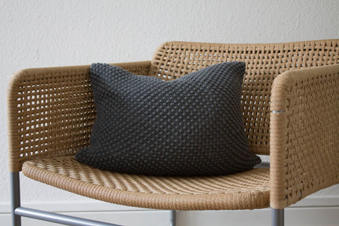 Grey Hand Knit Pebble Stitch Cushion