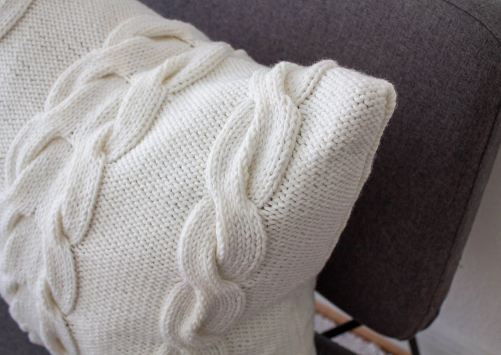 Hand Knit Chunky Cable Knit Cushion - White