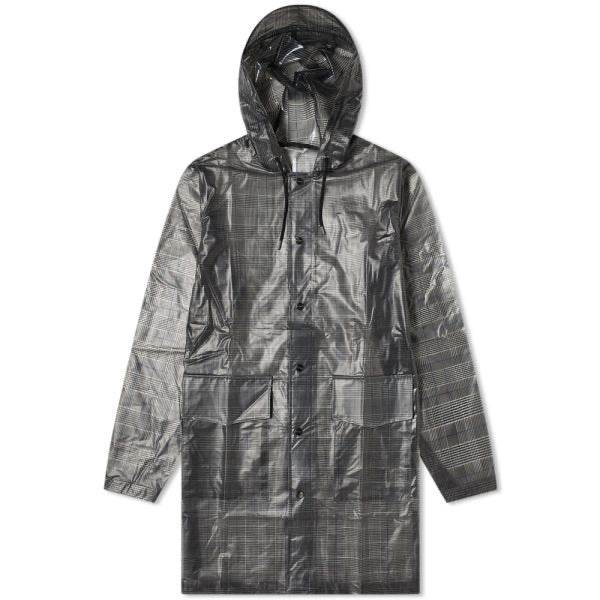 Rains - Check Hooded Coat - Check Charcoal