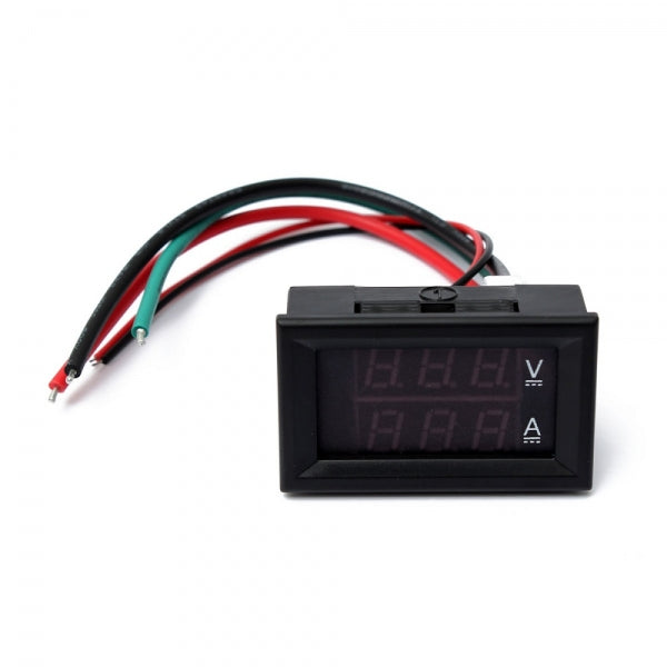 0.28 Inch Dual Display Red Blue LED Panel Voltmeter 4.5-30V Digital Volt Meter Ammeter 100A