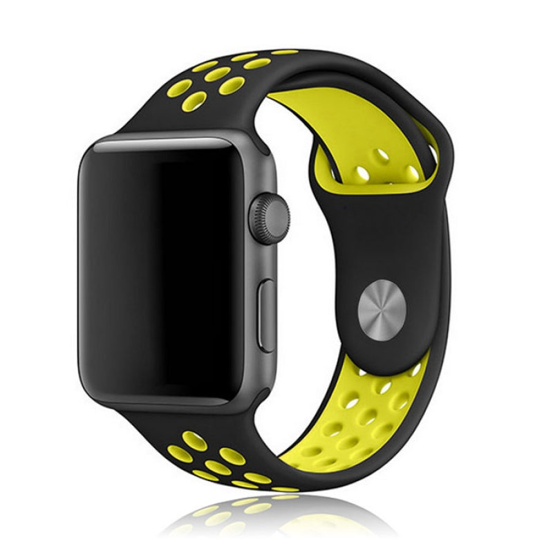 Double Color Silicone Watchband for Apple Watch 42mm Black & Yellow