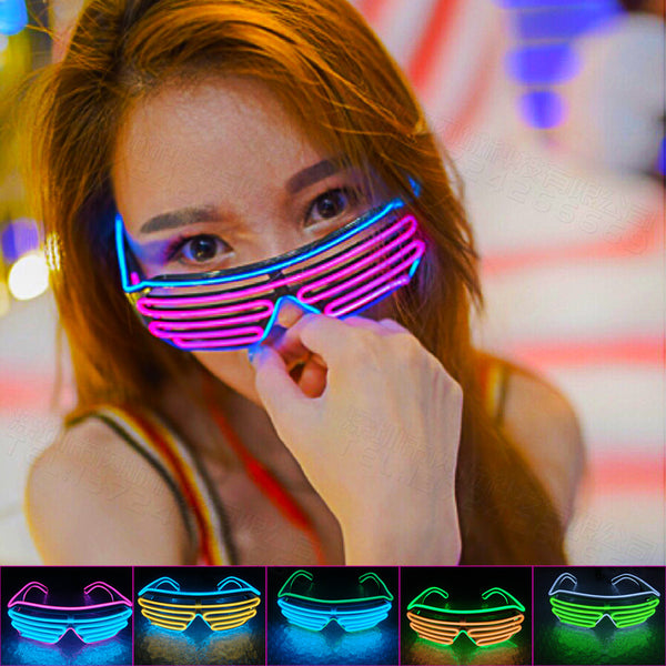 LED Glasses Luminous Party Flashing Lighting Colorful Glowing Classic Toys for Dance DJ Party Accessories Creative Decorations-Random Color