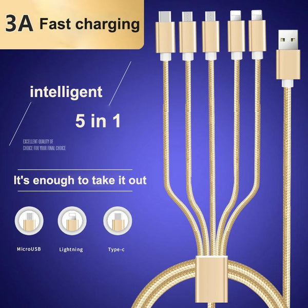 5 in 1 3A Fast Charge Android Apple Type-C Data Cable Multifunctional  Braided Charging Cable