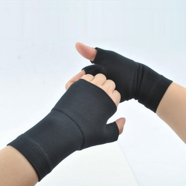 1 Pair Carpal Tunnel Thumb Hand Wrist Brace Support Compression Bandage Elastic Gloves - Black Size L