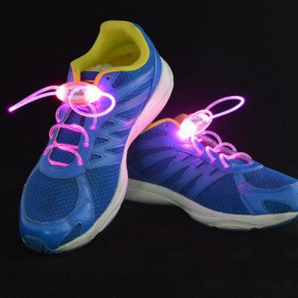 1 Pair LED Flashing Luminous Round Shoelaces Pink - stringsmall