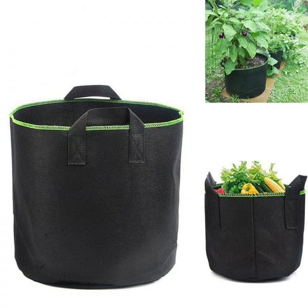 10 Gallon Garden Grow Bag Aeration Fabric Pots Flower Planters Bags with Handles - Black + Green
