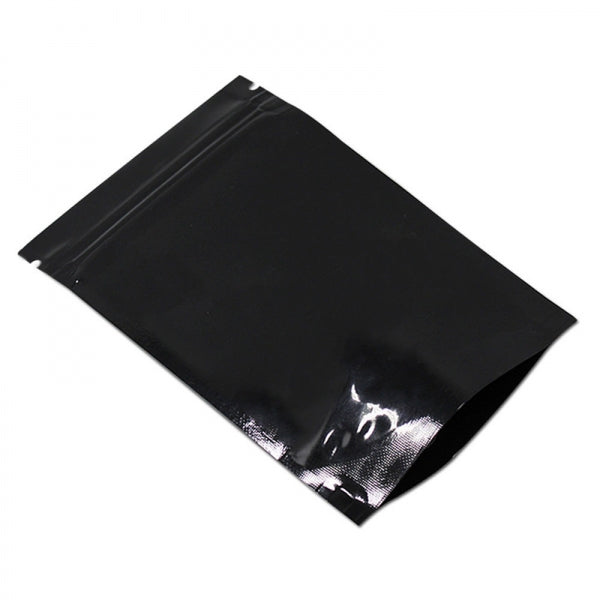 100pcs Black Stand Up Bag Silver Aluminum Foil Zip Lock Pouch Mylar Food Packaging Resealable - 6x8cm