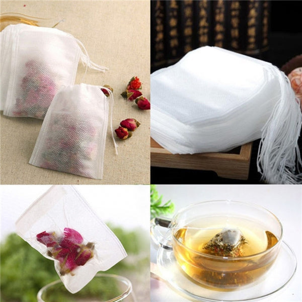 Teabags 100Pcs 7 x 9cm Empty Tea Bags w/ String Heal Seal Filter Paper for Loose Leaf Tea Coffee Herb Spice