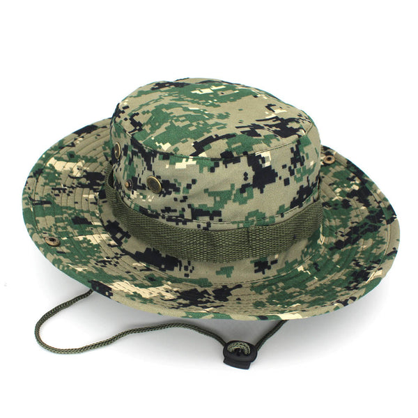 Outdoor Hiking Tactical Combat Camo Fishing Cap Bucket Cap ACU Camouflage