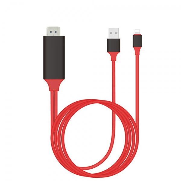 1080P 8pin Lightning to HDMI HDTV Adapter Cable for iPhone/iPad/iPod Touch Red & Black