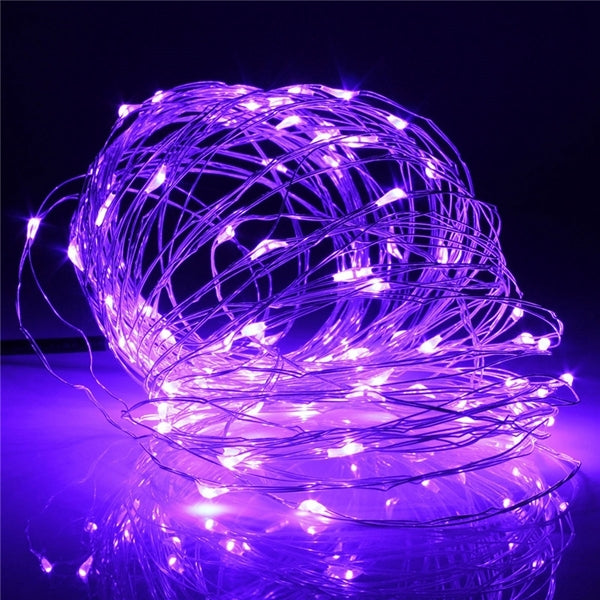 10M 100 LED Solar Powered Copper Wire String Fairy Light - Purple