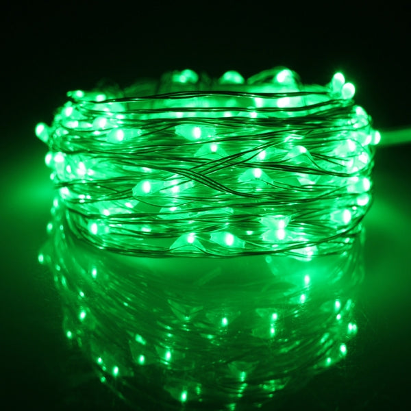 10M 100 LED USB Silver Copper Wire Flexible String Fairy Light Xmas Wedding Party Decor Green