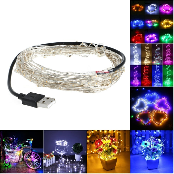10M 100 LED USB Silver Copper Wire Flexible String Fairy Light Xmas Wedding Party Decor RGB