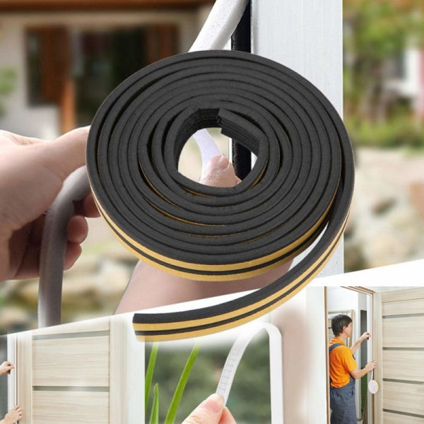 10M Draught Self Adhesive D Type Window Door Excluder Rubber Seal Strip