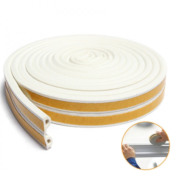 10M Draught Self Adhesive D Type Window Door Excluder Rubber Seal Strip - White