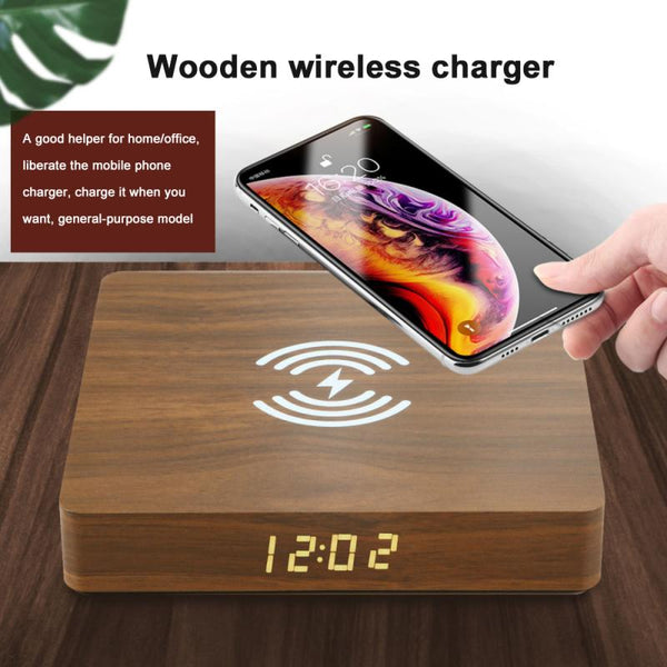 10W Qi Wireless Charger Wood Charging Pad Universal Wireless Mobile Phone Charger For IPhone 12 12pro Max Samsung S20 S10 S9